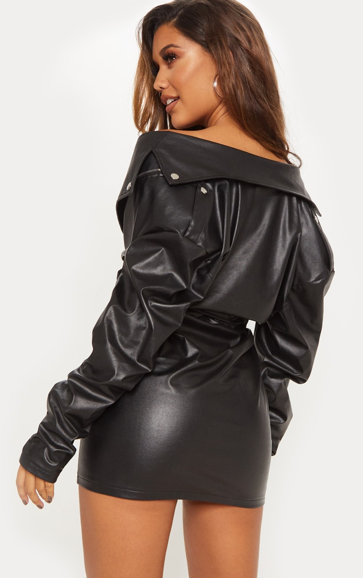 Black Faux Leather Biker Bodycon Dress 2