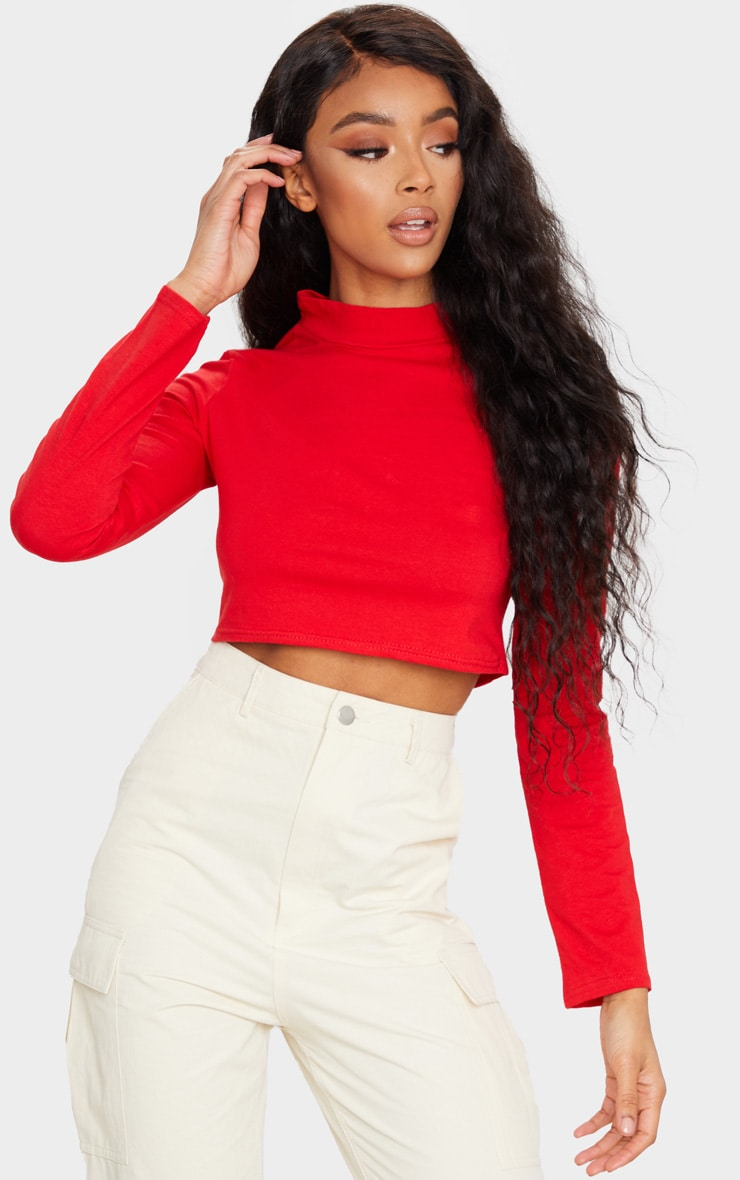 Red High Neck Long Sleeve Crop Top 1