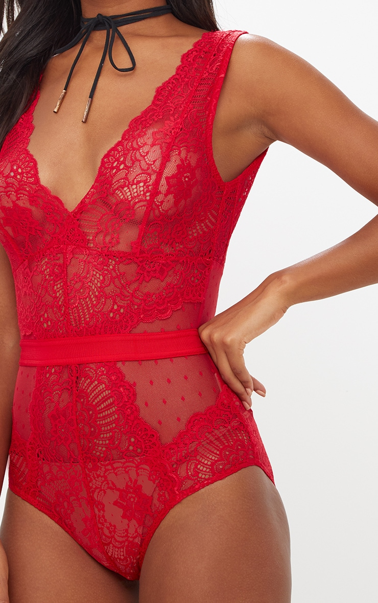 Red Lace Bodysuit 6