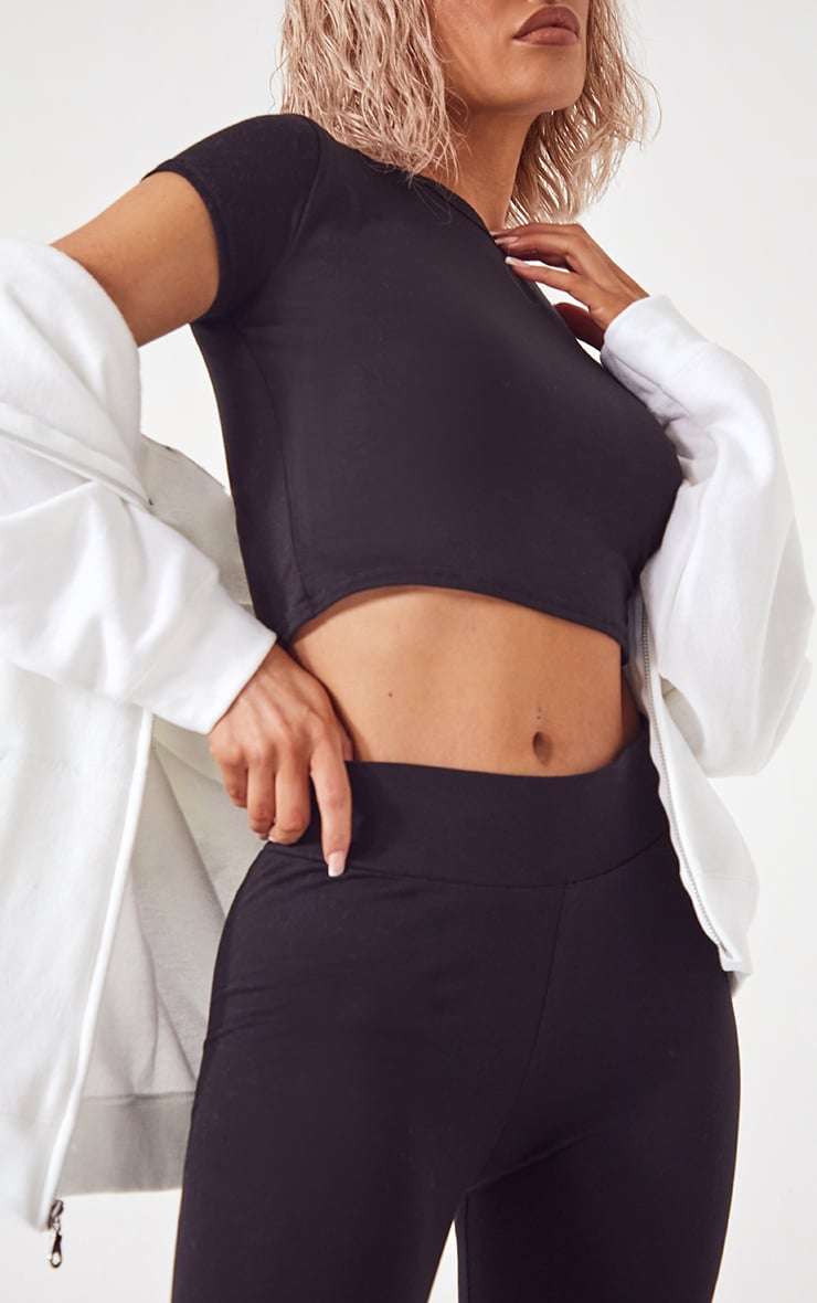 Basic Black Cotton Blend Jersey High Waisted Leggings 4