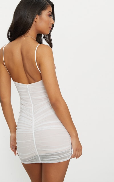 White Mesh Ruched Bodycon Dress