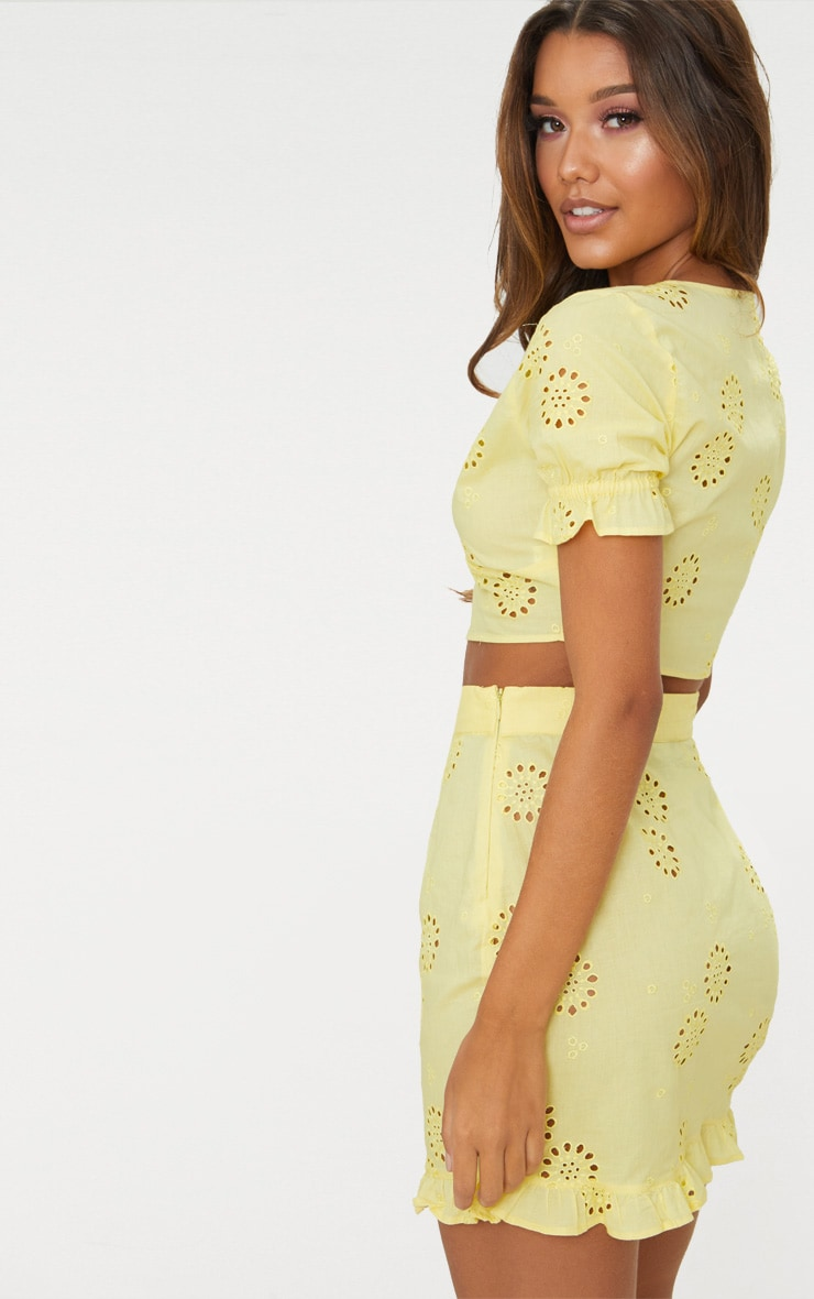 Lemon Embroidered Button Detail Crop Top 2