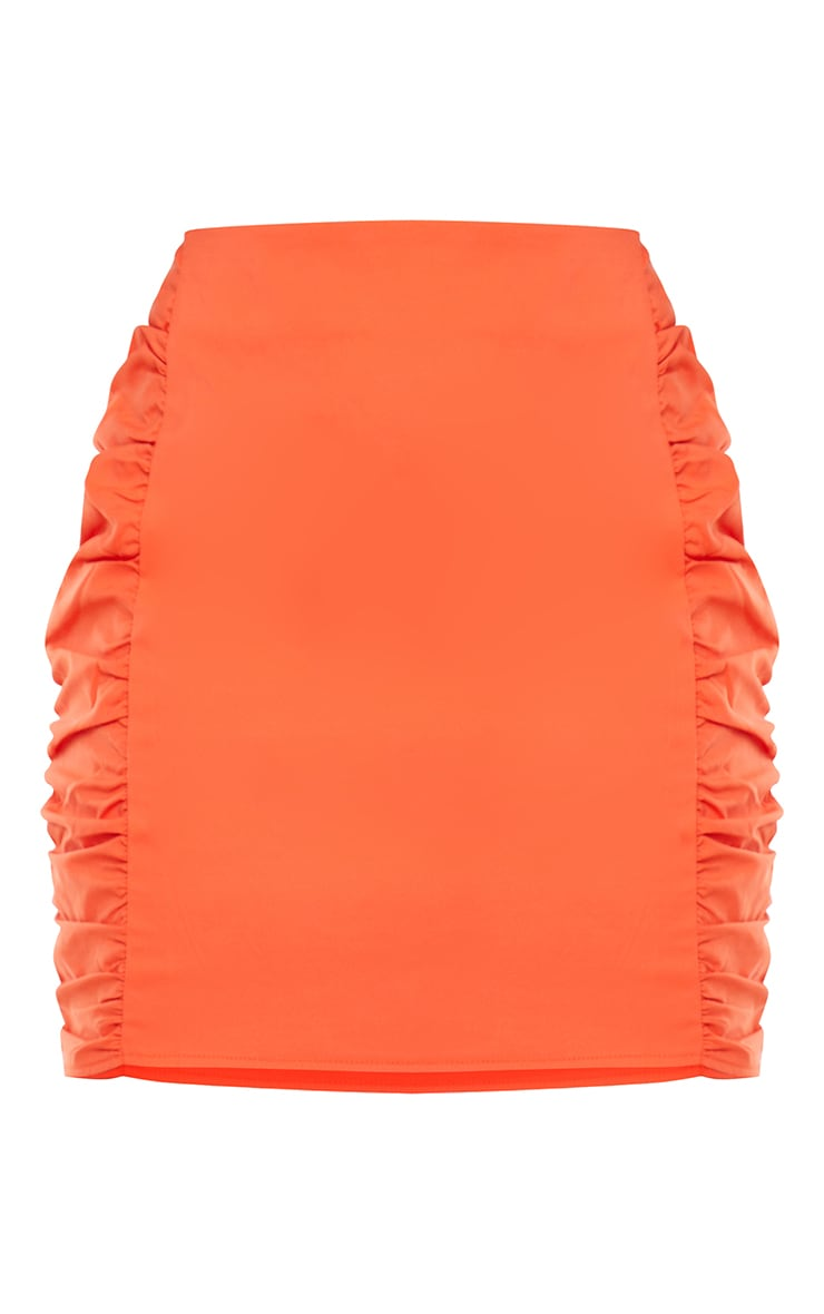 Orange Woven Ruched Side Bodycon Mini Skirt 6