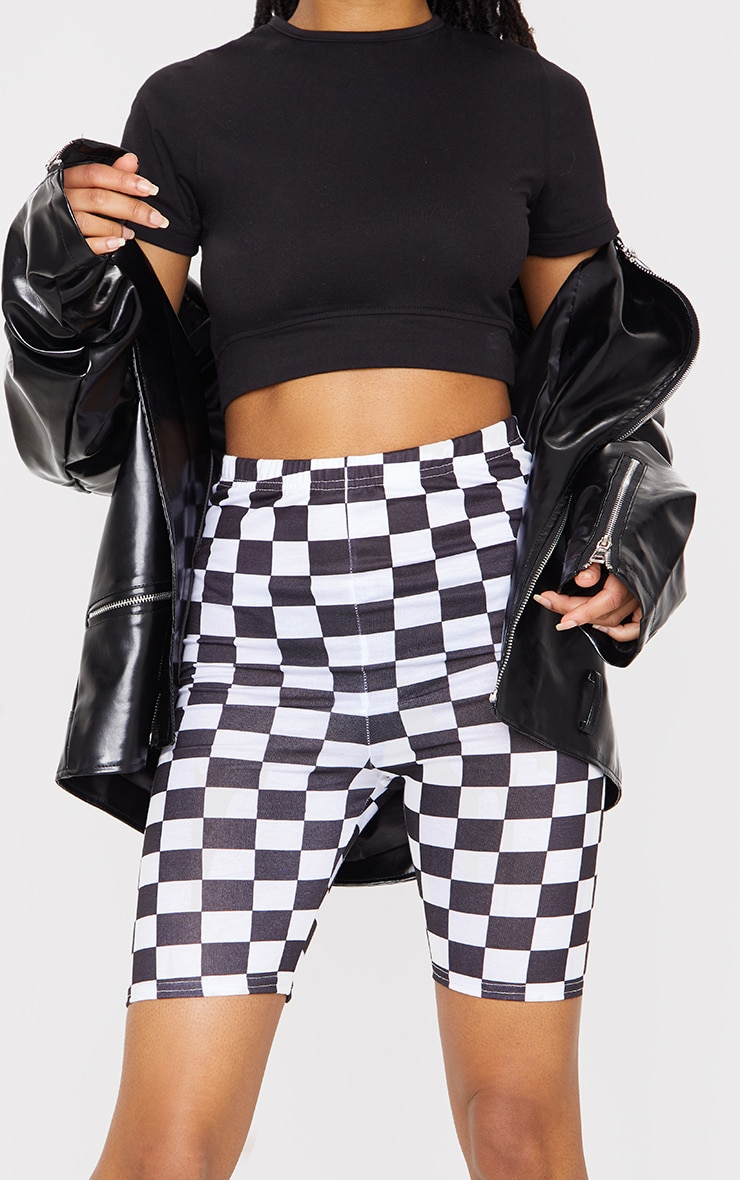 Monochrome Checkerboard Bike Shorts 5