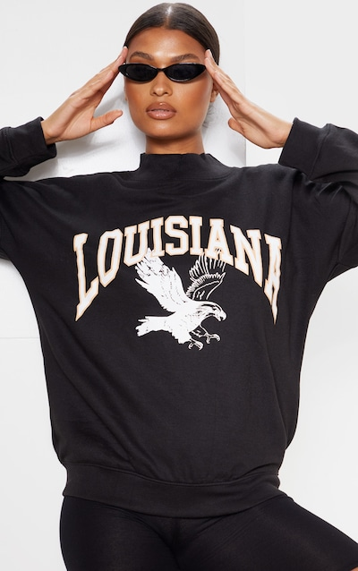 Black Louisiana Print Oversized High Neck Sweater