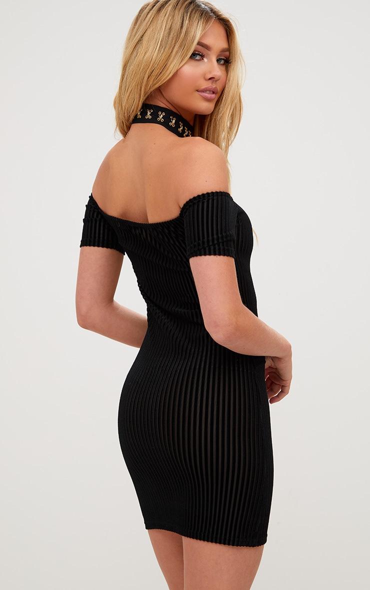 Black Striped Velvet Bardot Bodycon Dress 2