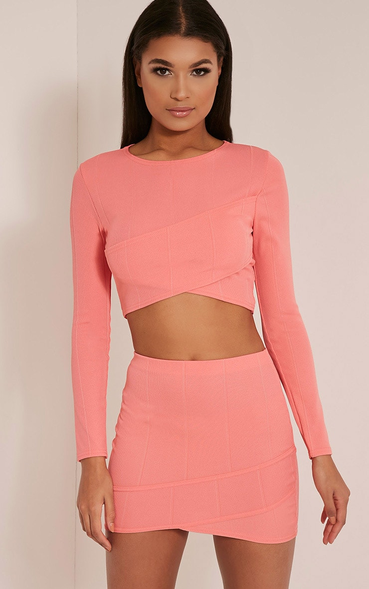 Alena Coral Cross Front Bandage Mini Skirt 1