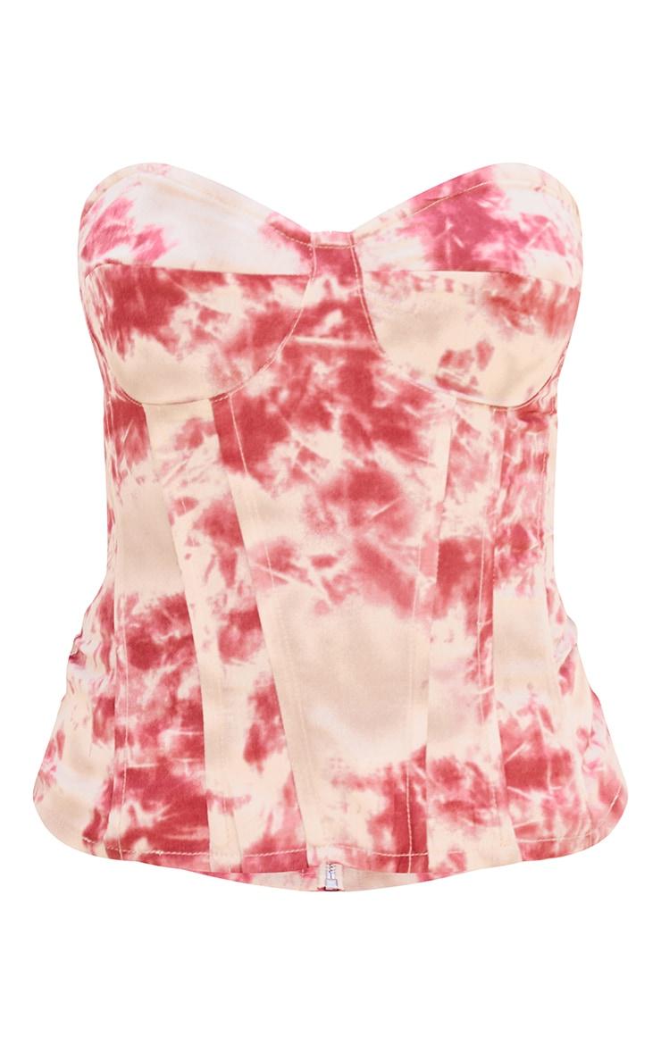Fuchsia Tie Dye Print Corset 5