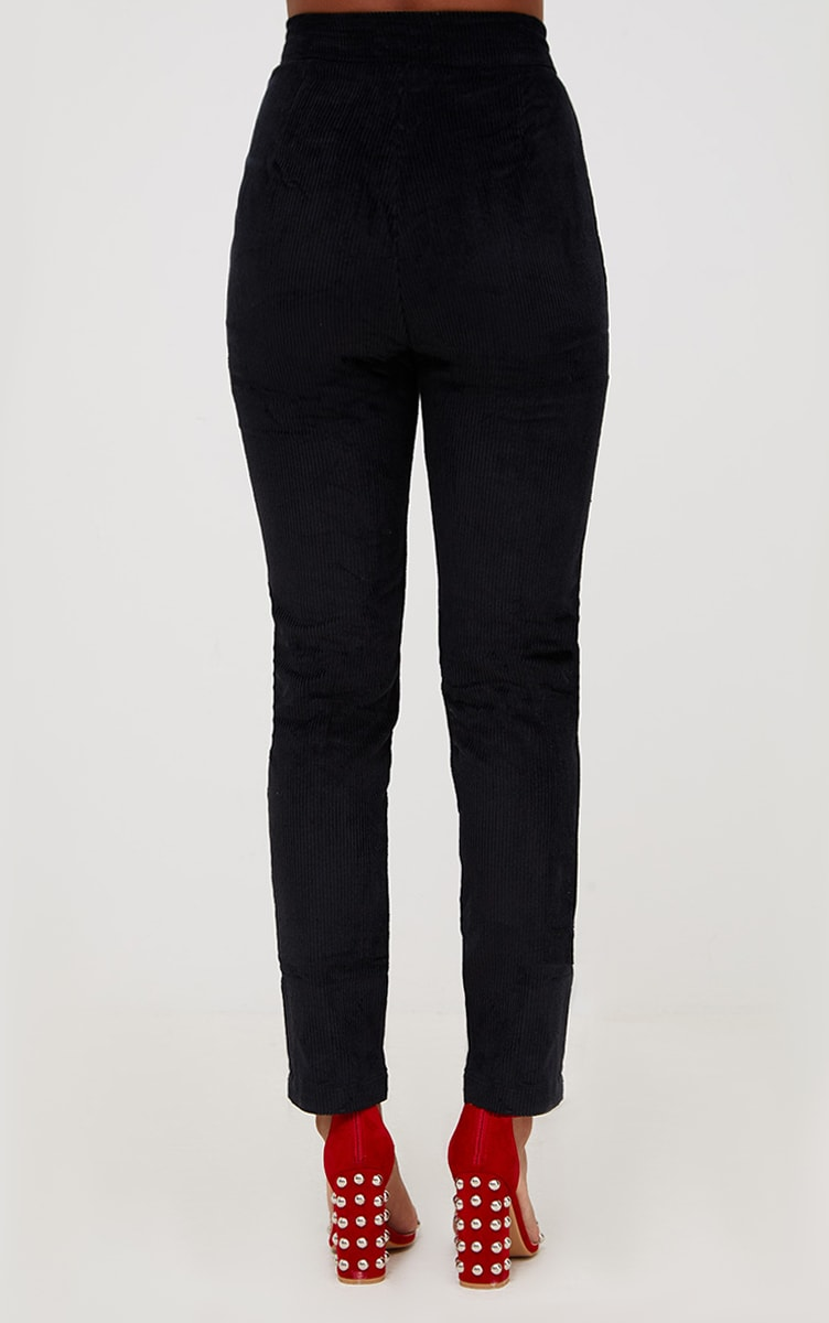 Black Cord Zip Front Trousers 4