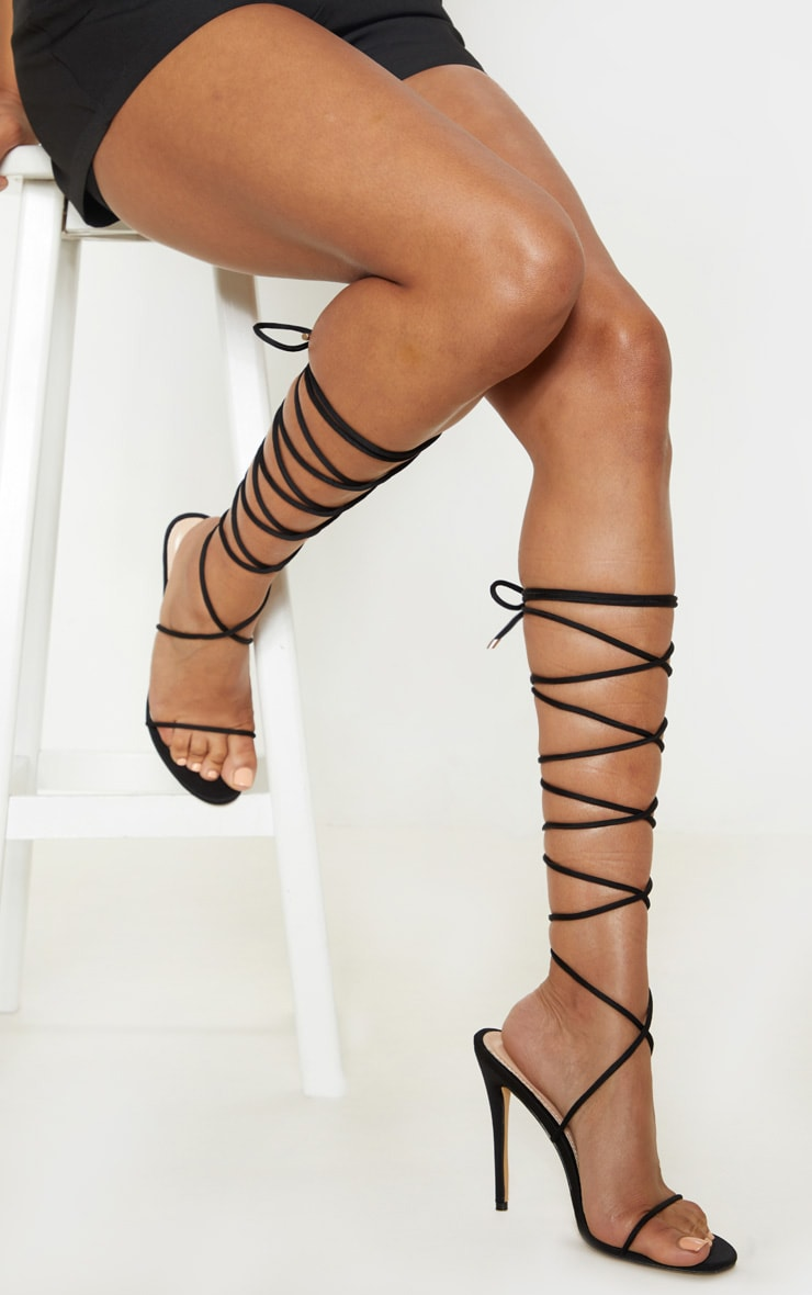 Black Knee High Strappy Sandal 1