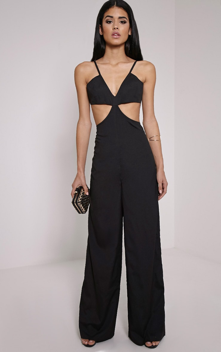 Taylor Black Cut Out Crepe Jumpsuit 1