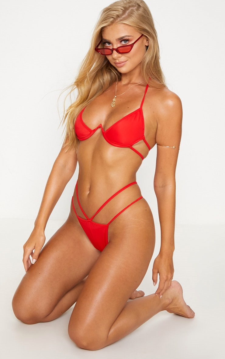 Red Cleavage Wire Bikini Top