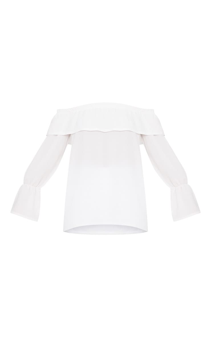 White Chiffon Frill Detail Bardot Top  3