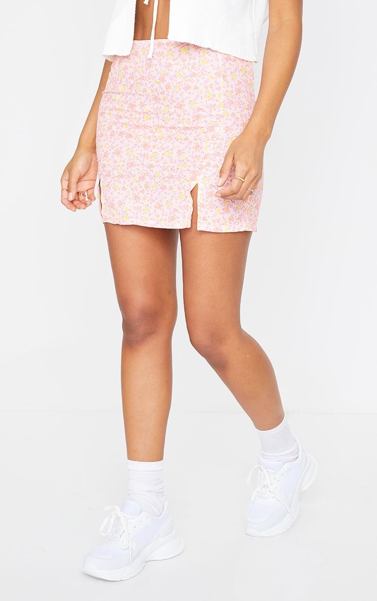 Pink Woven Printed Split Hem Mini Skirt 2