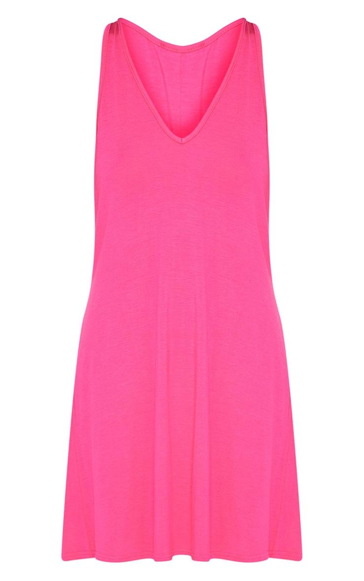 Fuchsia Jersey V Plunge Sleeveless Shift Dress  3
