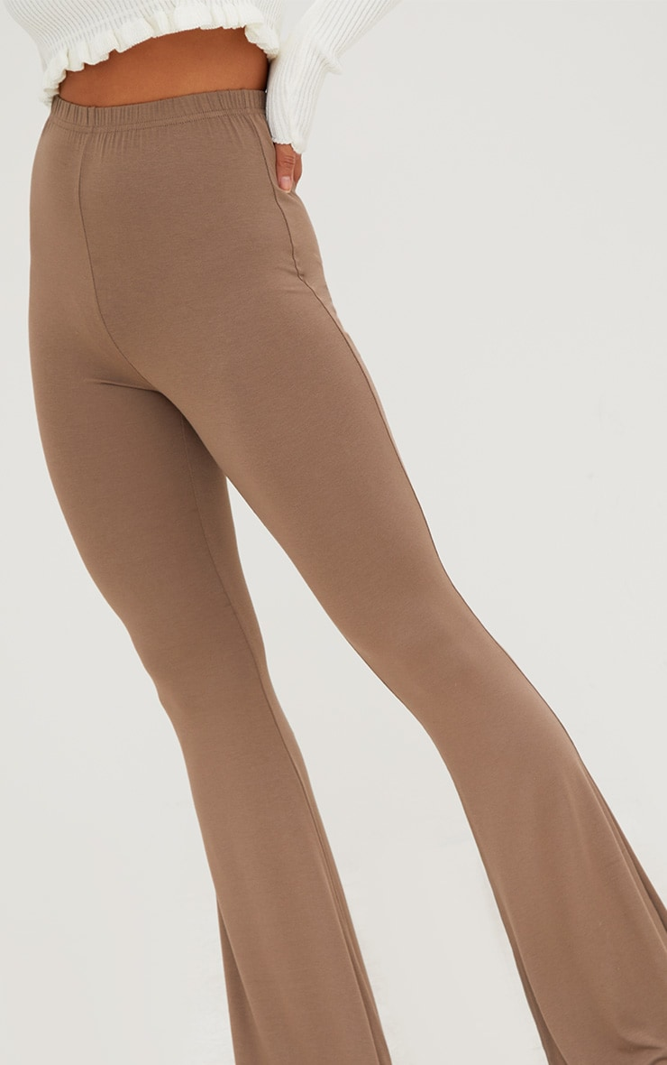 Mocha Jersey Flared Trousers 5