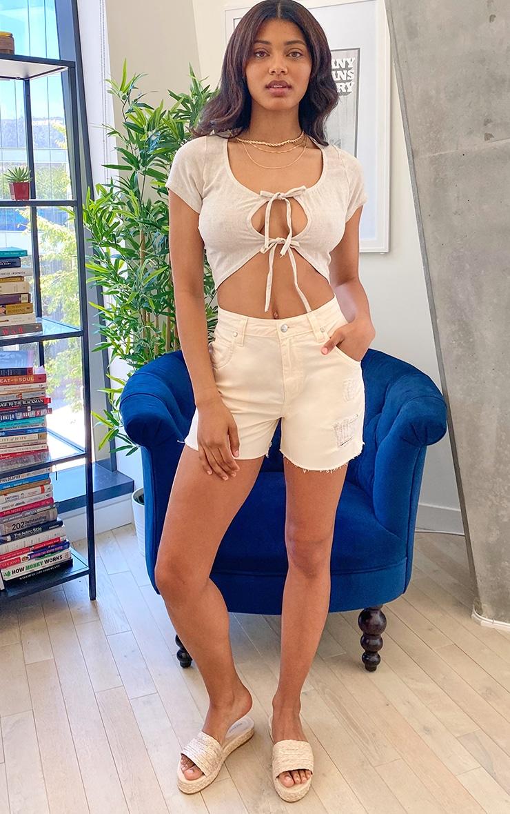 Tall Ecru High Waisted Distressed Frayed Hem Denim Shorts 4