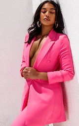 Bubblegum Pink Double Breasted Woven Blazer 1
