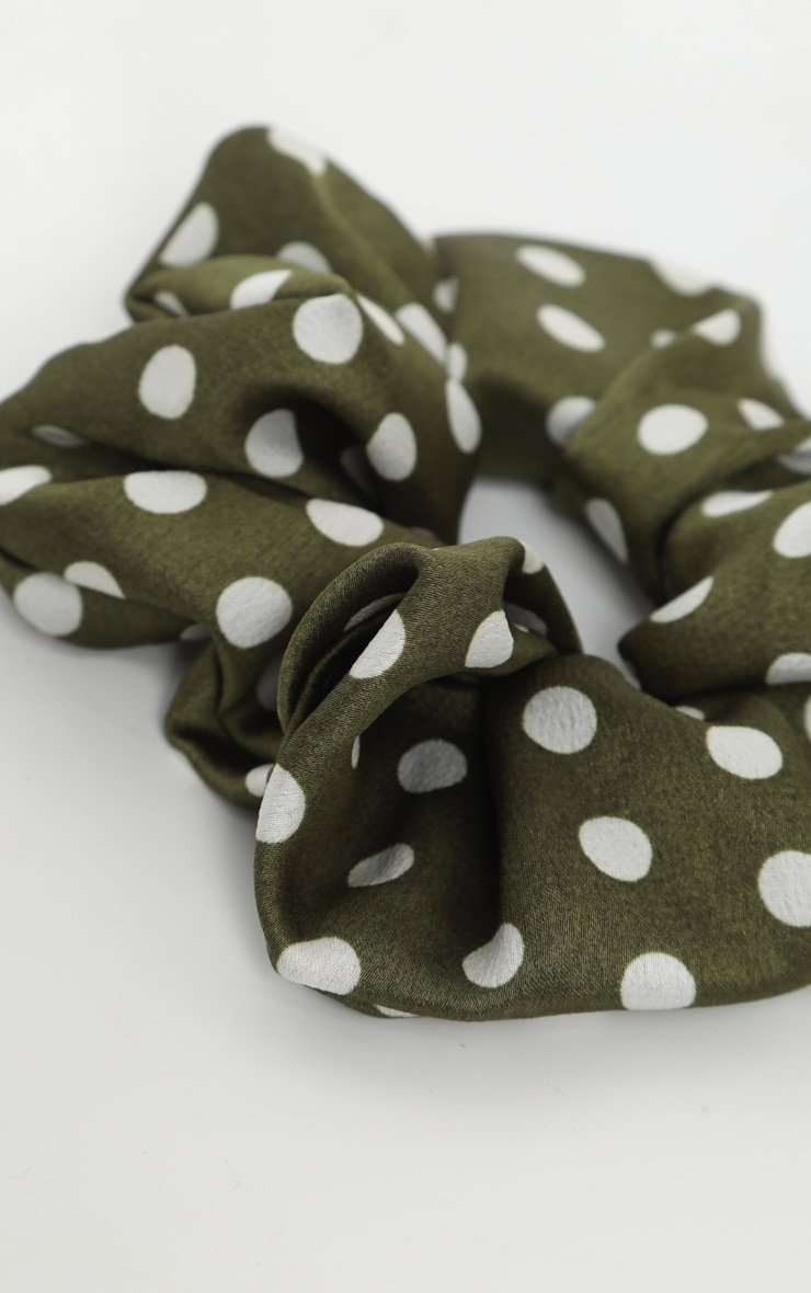 Green Polka Dotted Satin Scrunchie 3
