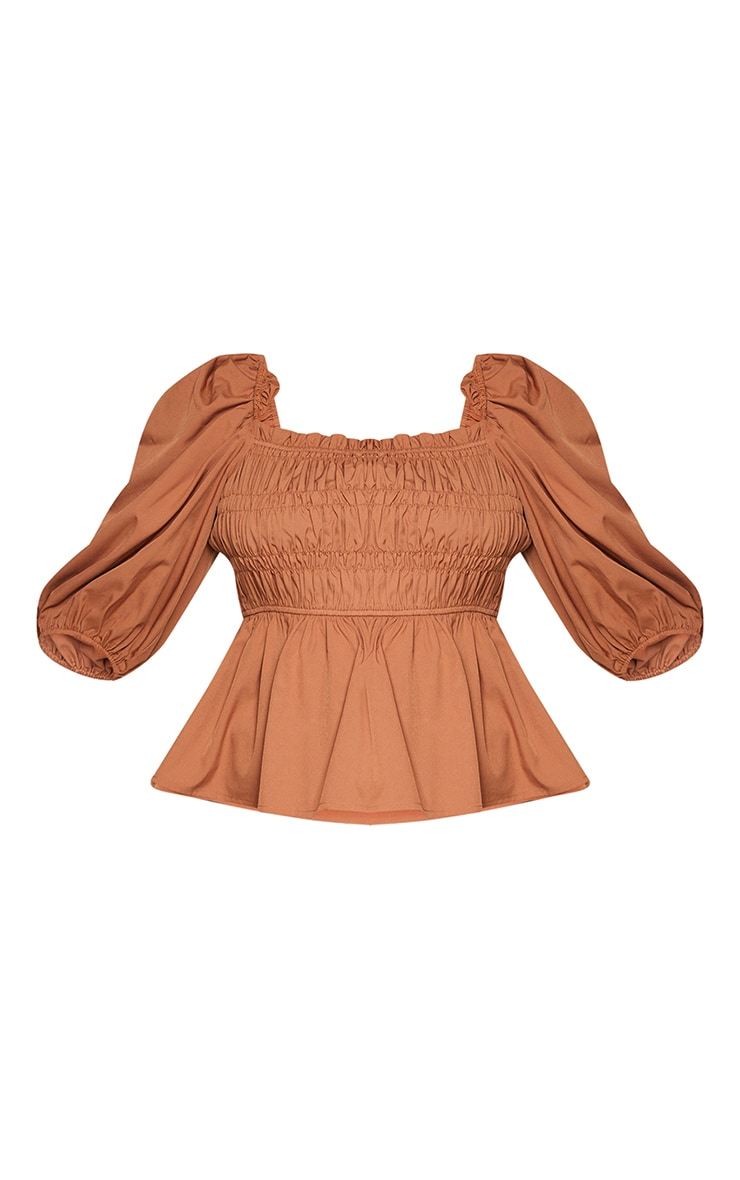 Plus Brown Shirred Puff Sleeve Blouse 5