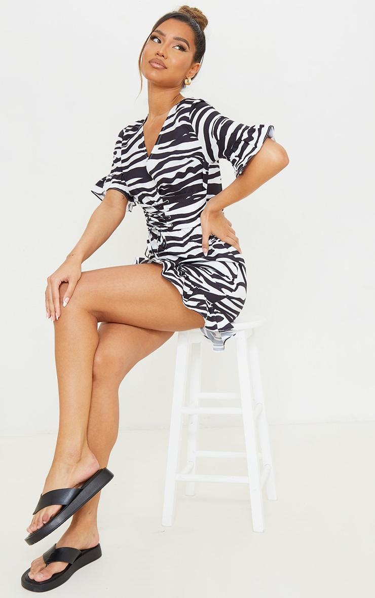 Black Zebra Print Corset Swing Dress 3