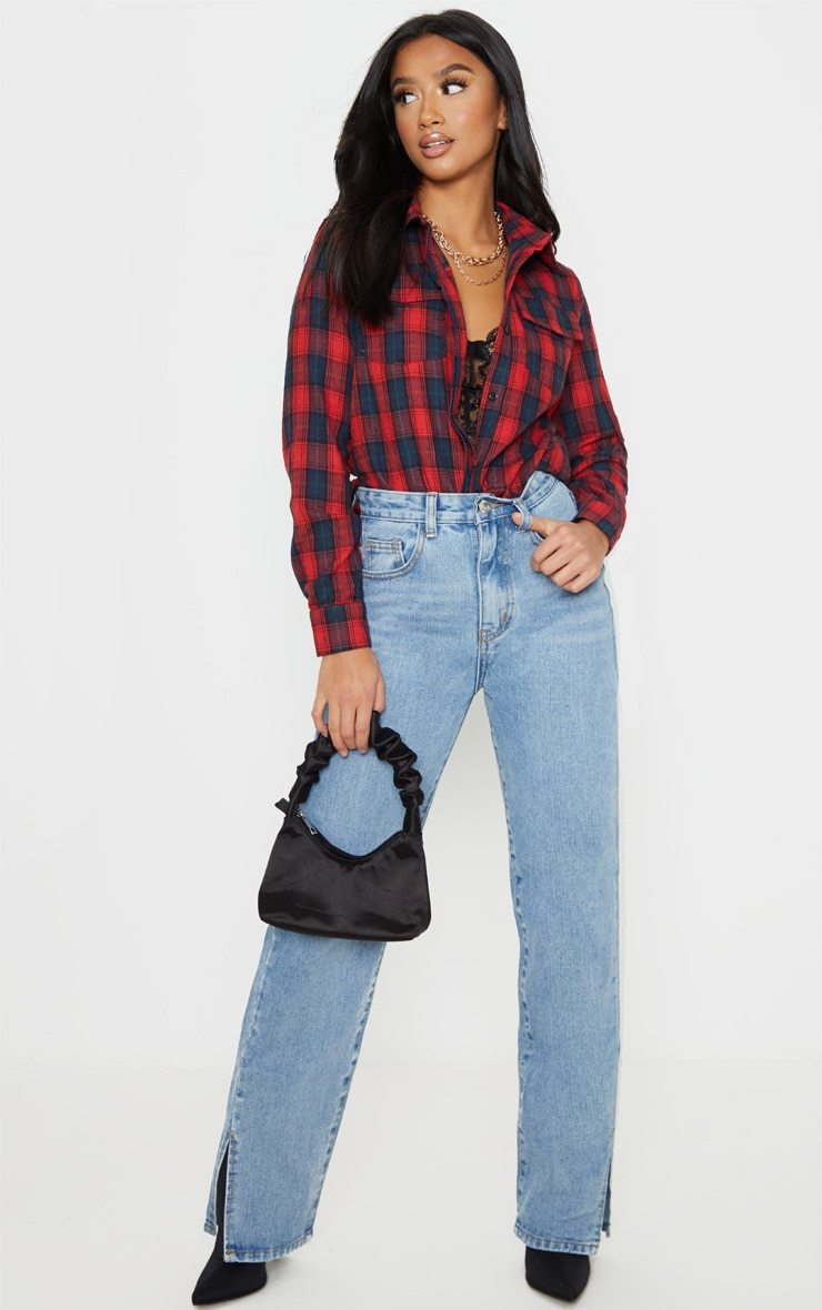 Petite Red Oversized Checked Boyfriend Shirt 4