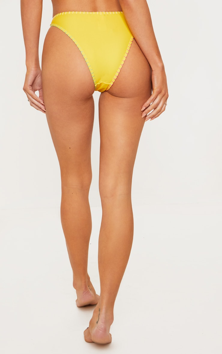 Yellow Stitched Edge Bikini Bottom 4