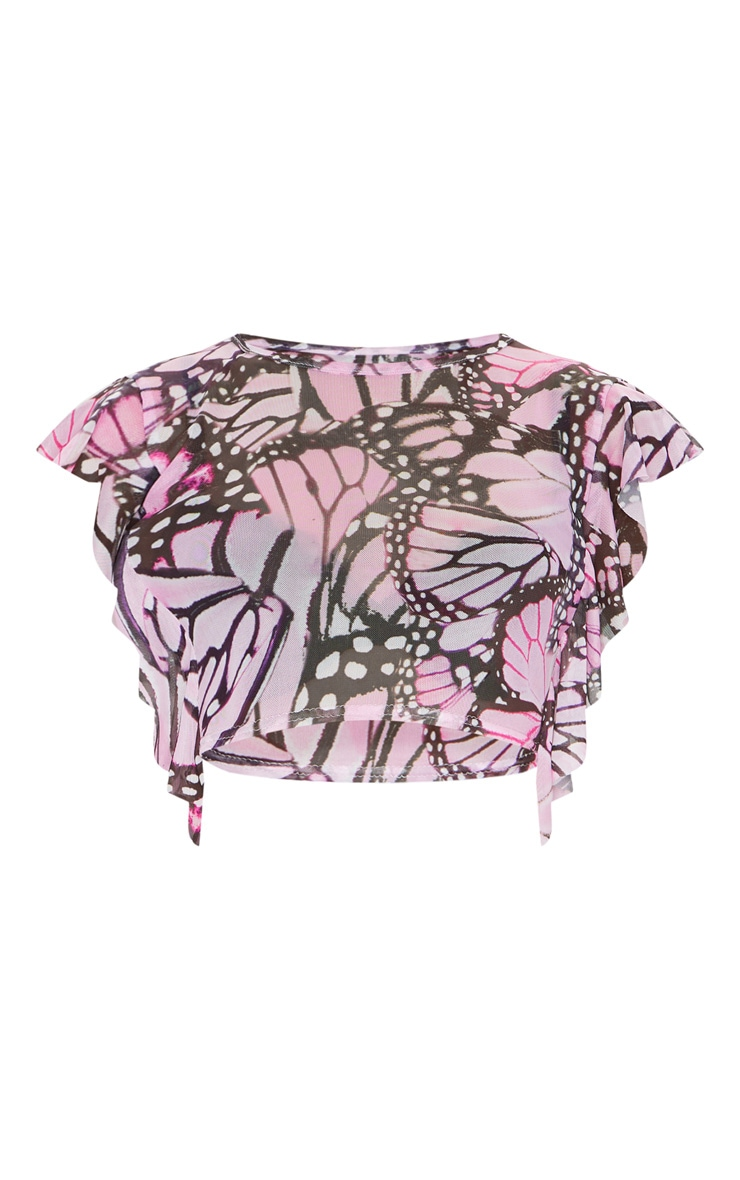 Pink Butterfly Print Mesh Frill Sleeve Crop Top 5