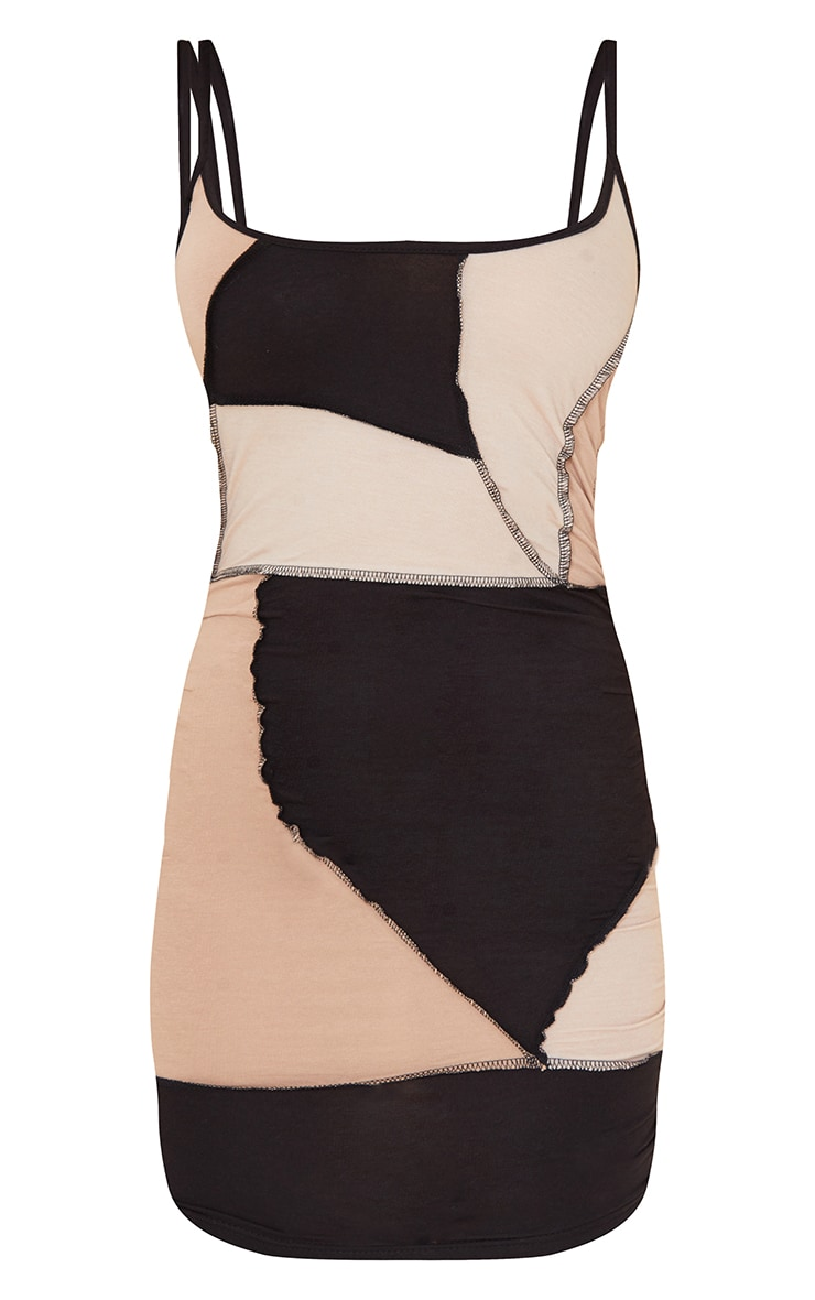 Nude Strappy Contrast Panel Detail Exposed Seam Bodycon Dress 5