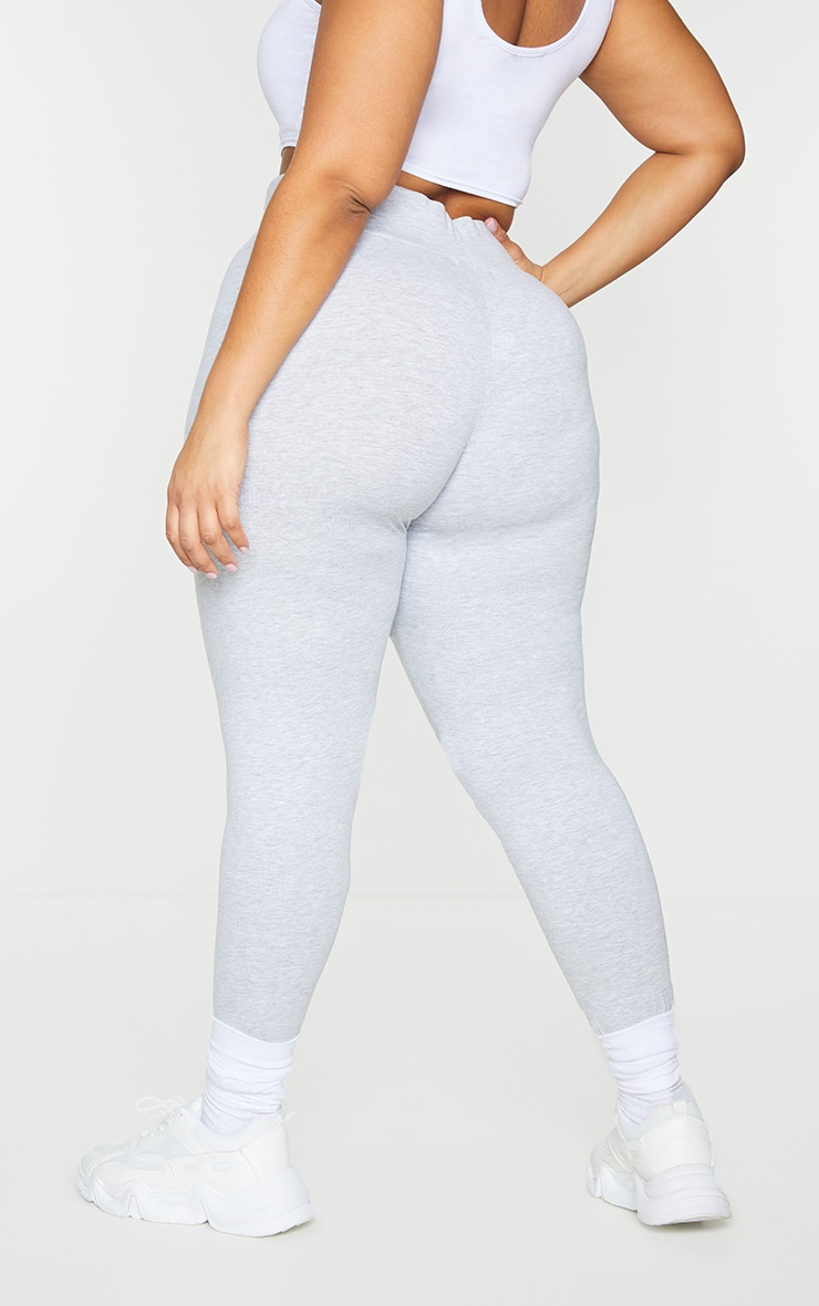 Basic Plus Grey Cotton Blend High Waisted Jersey Leggings 3