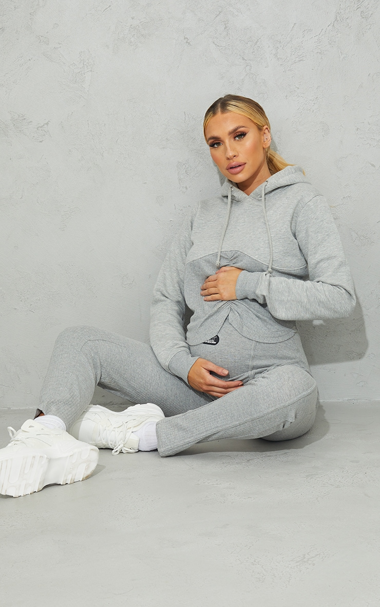 Maternity Grey Bump Ruched Hoodie 3