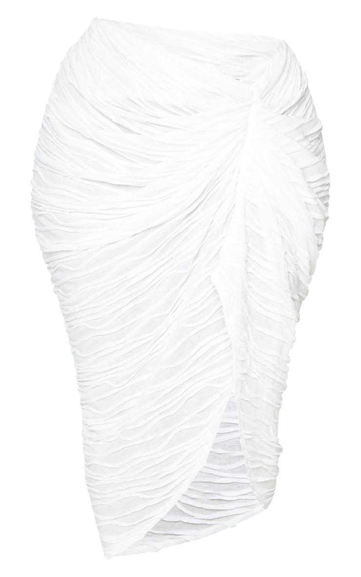 Plus White Textured Ruch Side Midi Skirt  6
