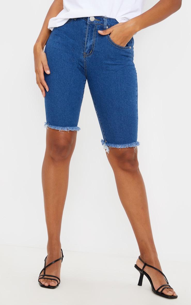 Dark Blue Denim Cycling Shorts 2
