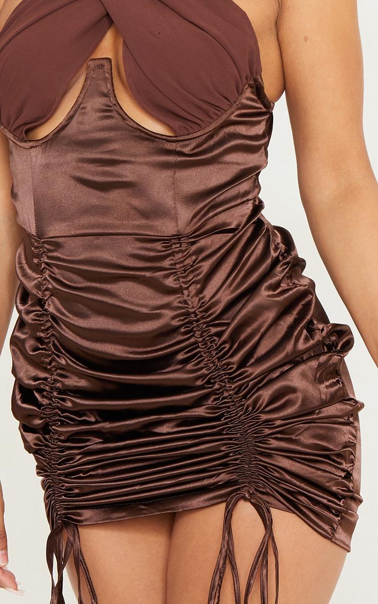 Chocolate Satin Halterneck Underbust Ruched Bodycon Dress 4