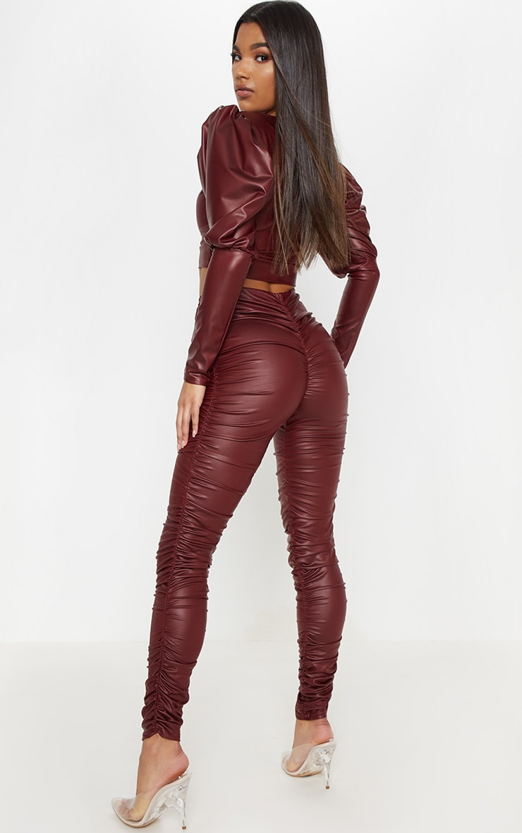 Maroon Coated Ruched Side Legging 1
