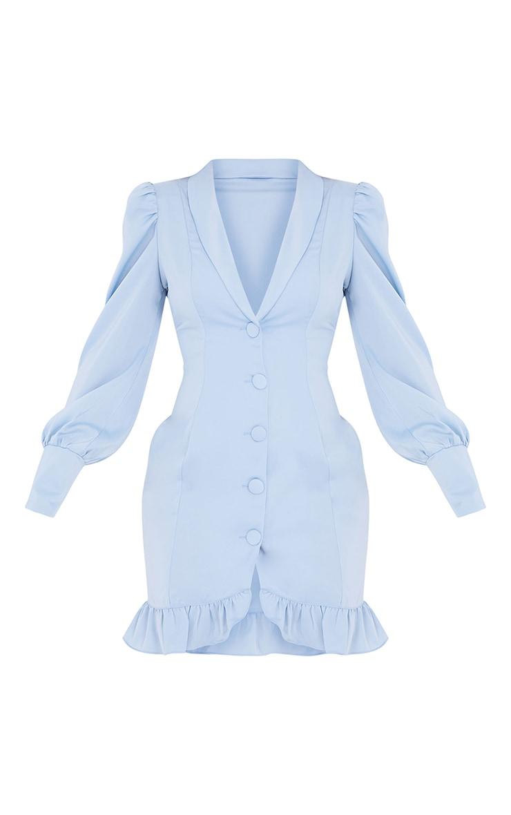 Baby Blue Button Cuff Frill Hem Blazer Dress 5