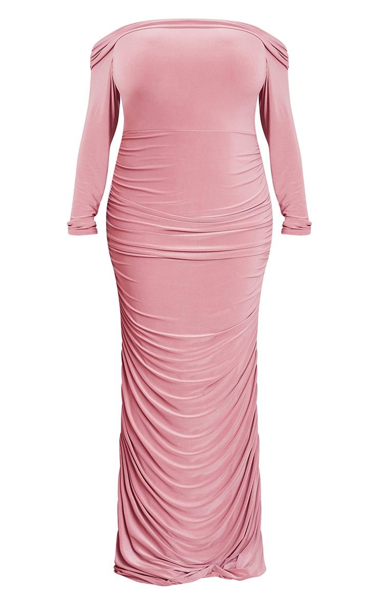 Plus Dusty Pink Slinky Bardot Ruched Long Sleeve Maxi Dress 5