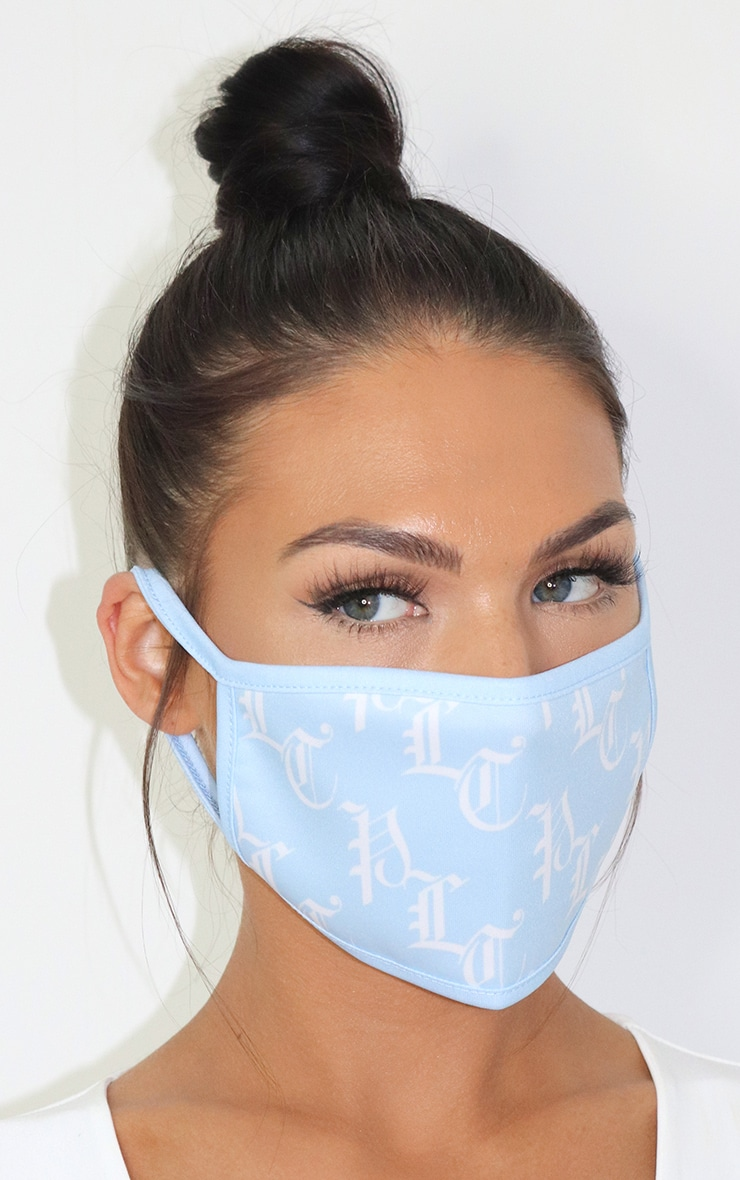 PLT Baby Blue Gothic Monogram Fashion Mask 1