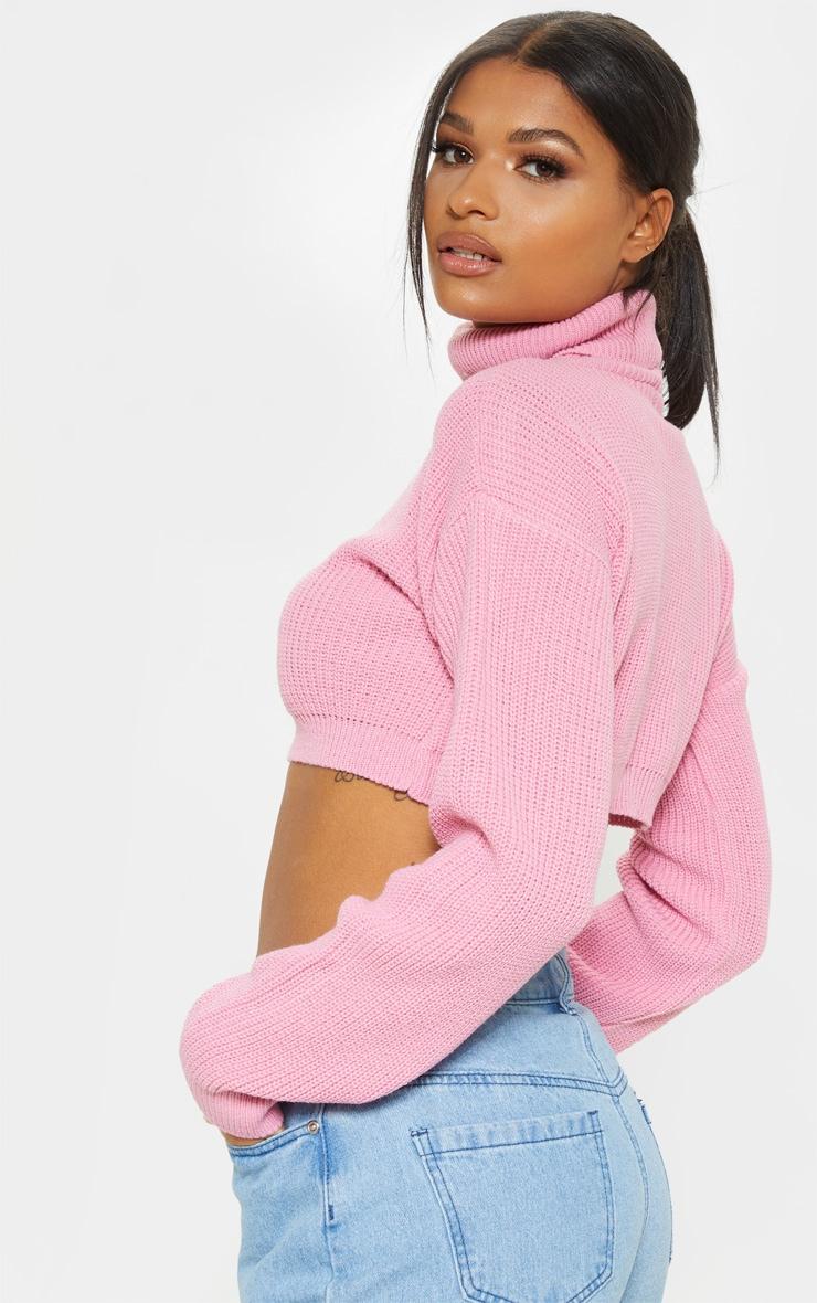Pink Super Cropped High Neck Knitted Jumper  2