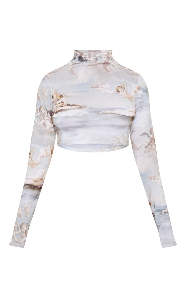 Grey Renaissance Printed High Neck Long Sleeve Crop Top 3