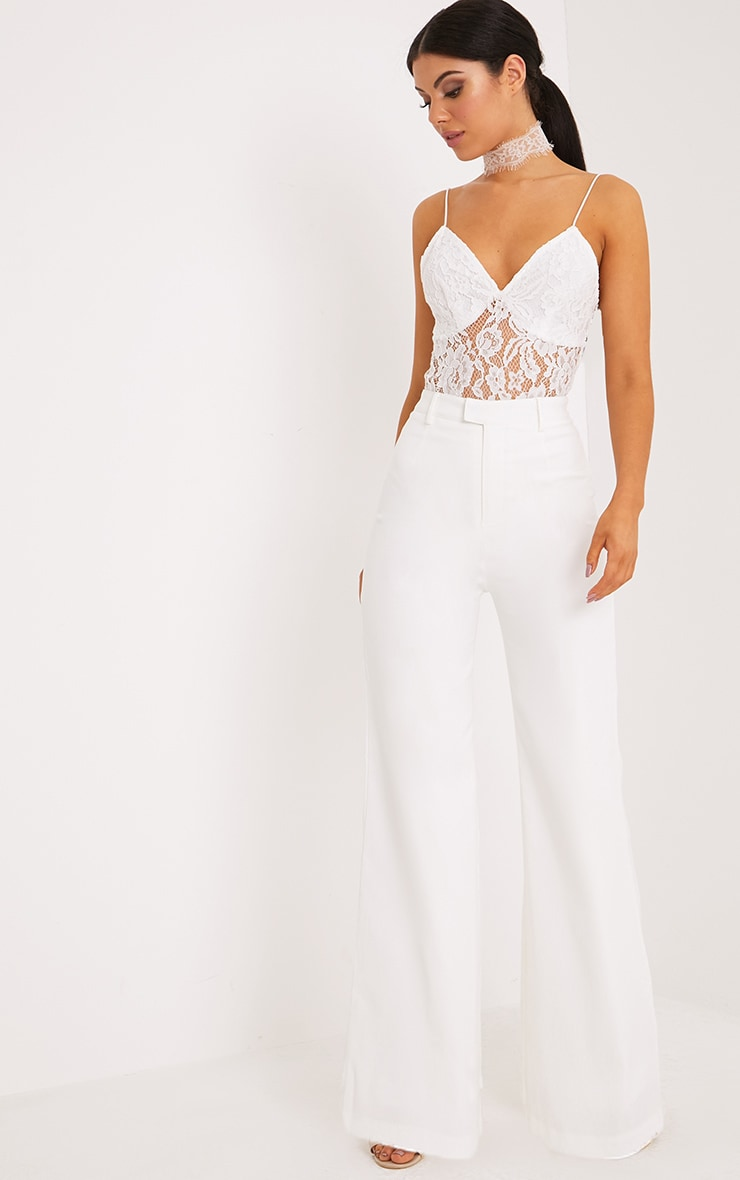 Reemah Cream Wide Leg Crepe Pants
