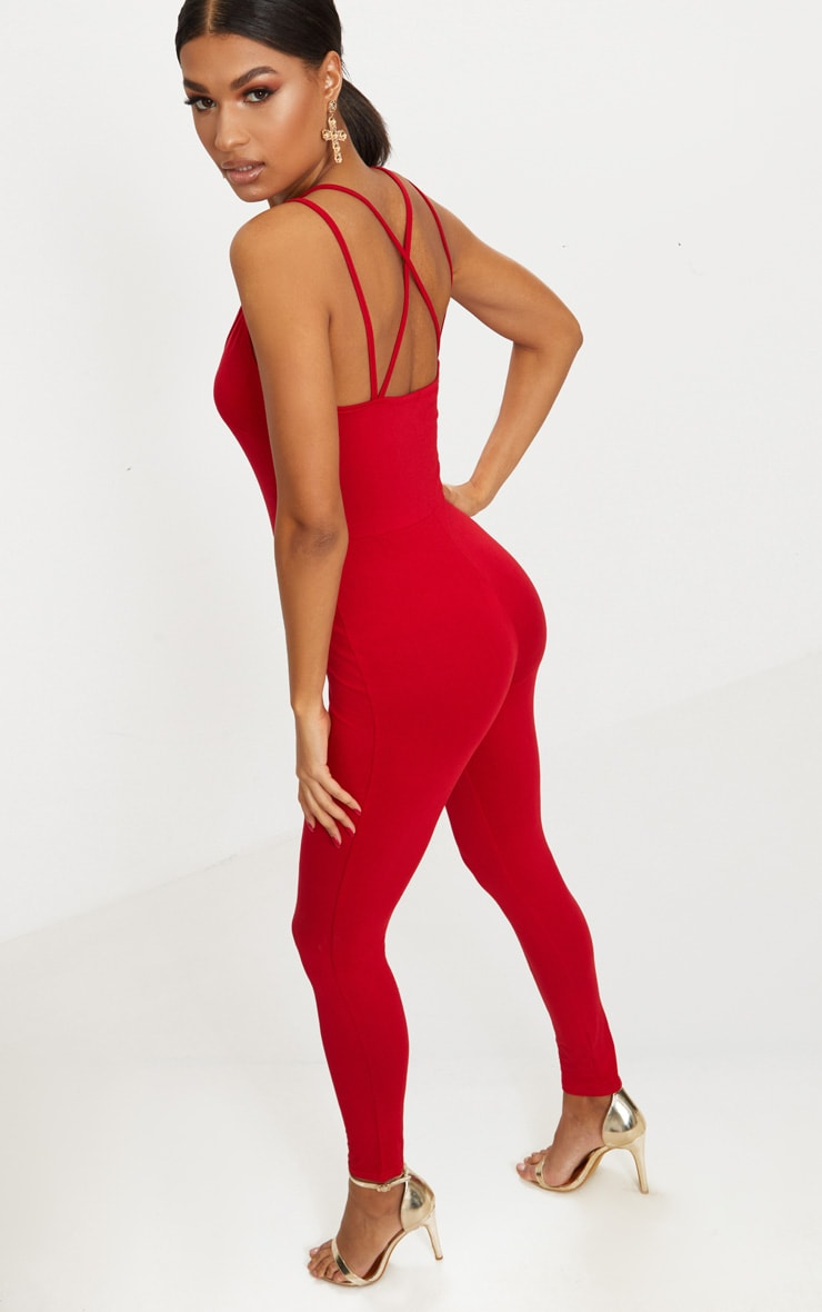 Red Jersey Cross Back Jumpsuit 2