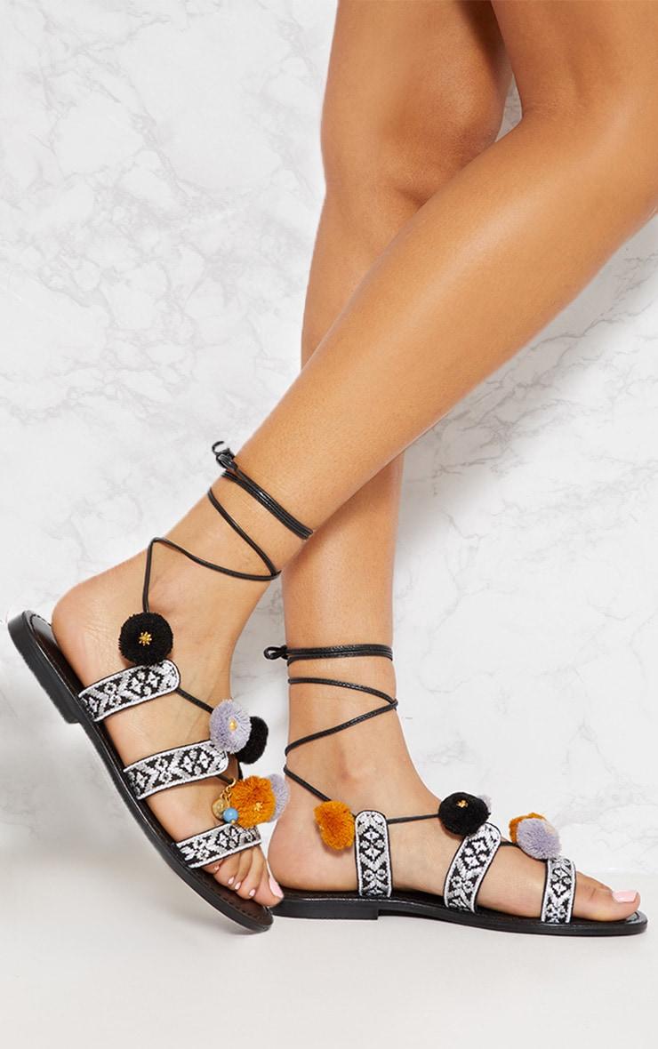 Black Embroidered Ghillie Sandals