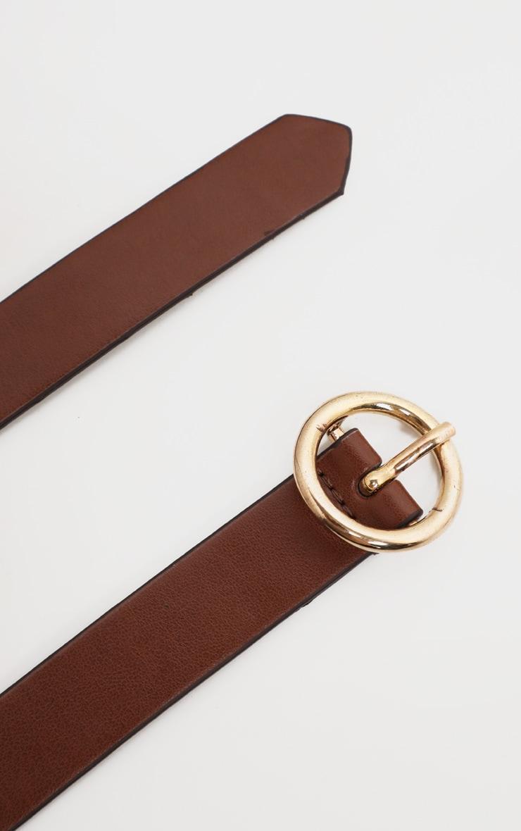 Tan Round Buckle Skinny Waist Belt 2