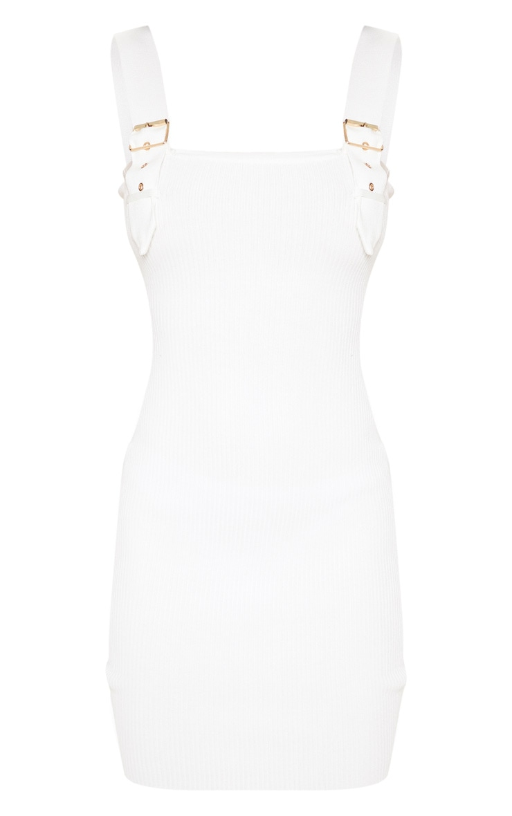 Cream Buckle Detailed Ribbed Knitted Dress  3
