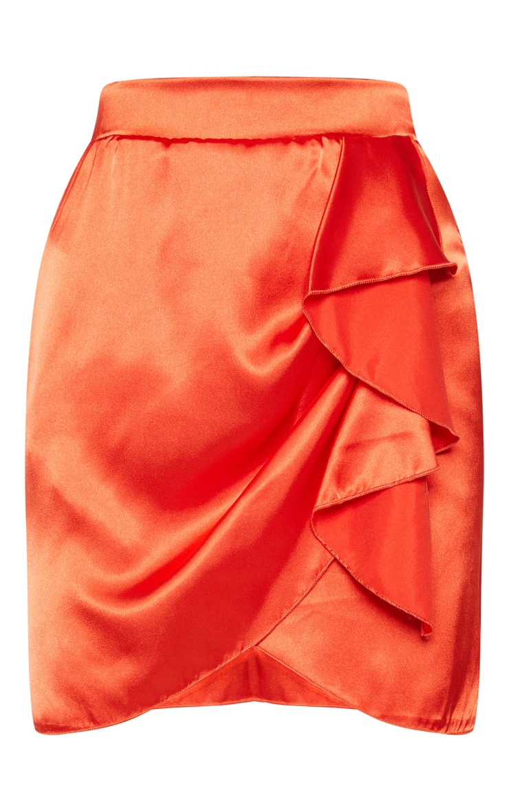 Burnt Orange Satin Asymmetric Tie Detail Skirt 3