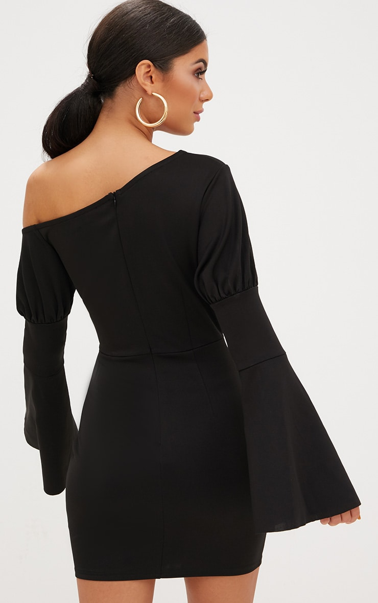 Black One Shoulder Balloon Sleeve Cut Out Bodycon Dress 2