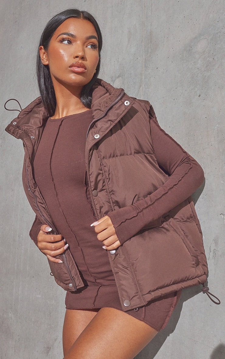 RENEW Chocolate Recycled Toggle Detail Gilet 4