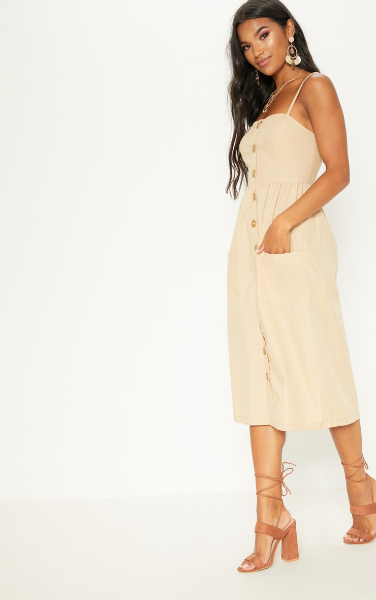 Stone Button Down Midi Dress 4