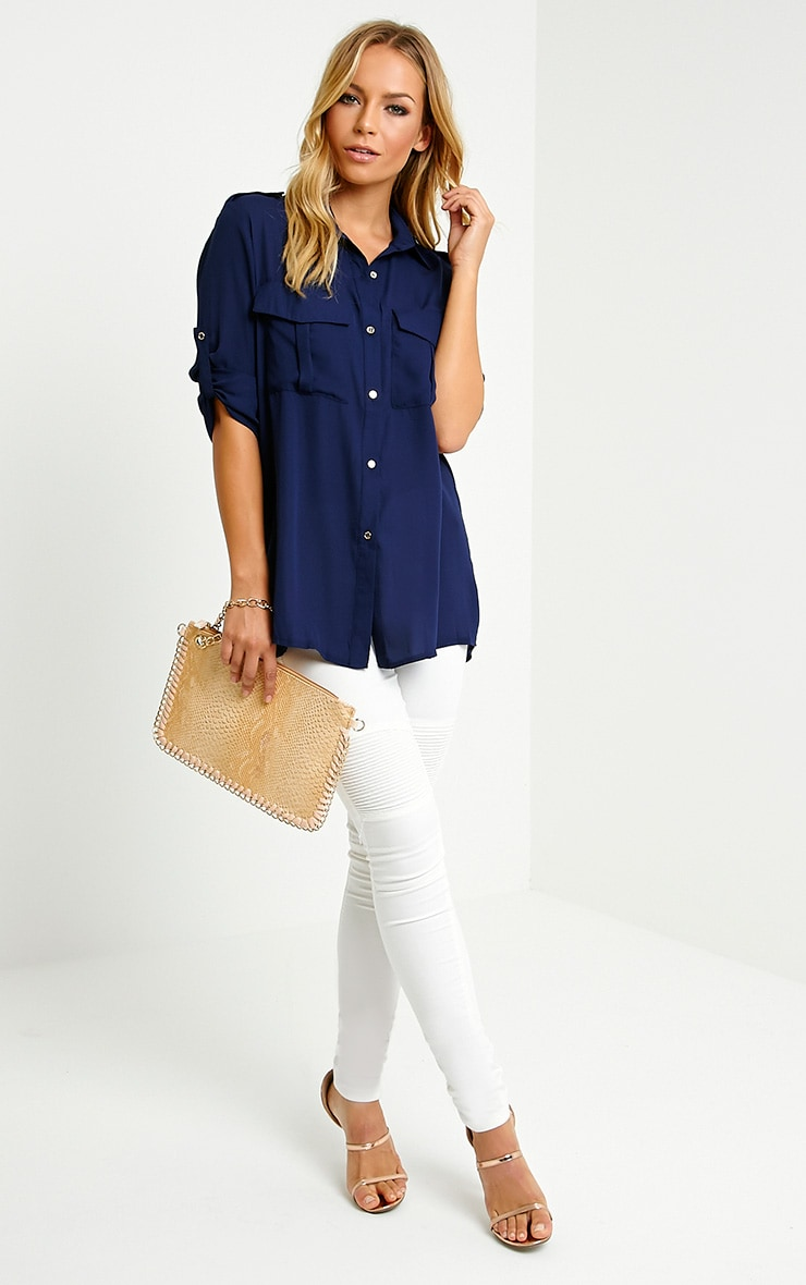 Bethan Navy Utility Pocket Shirt 4